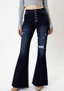 KanCan high rise button flare jeans
