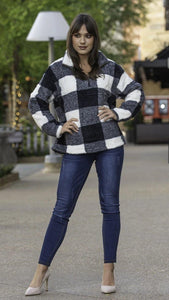 Buffalo Plaid Fleece Sweater - MiaStylez
