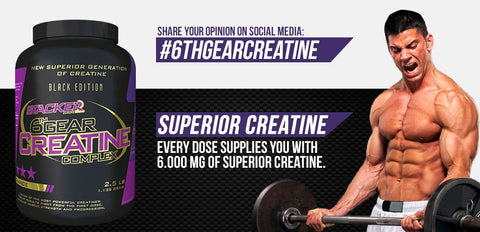 6th Gear Creatine Complex Ephedra Vrij - Stacker 2 • 1135 gram (20 servings) • Creatine & Kracht - banner