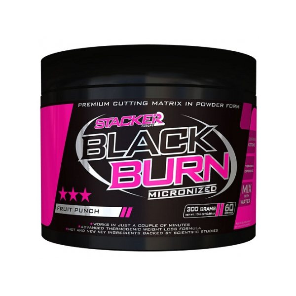 Black Burn Micronized - Stacker 2 • 300 gram  • Afslanken, Afvallen & Vetverbranden - Fruit Punch - Fatburner