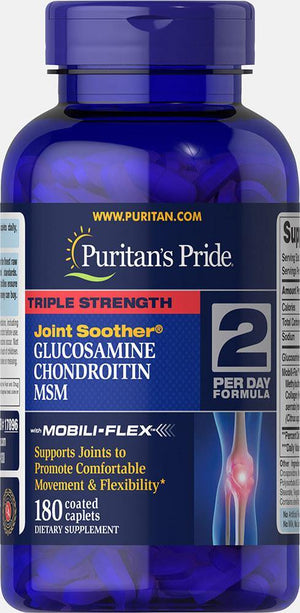 Puritan's Pride Triple Strength Glucosamine, Chondroitin & MSM Joint Soother -180 Caplets - NutriVita