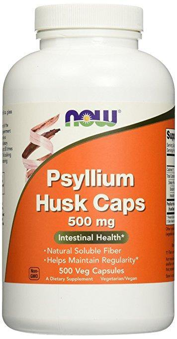 NOW Psyllium Husk 500 mg, 500 Capsulas