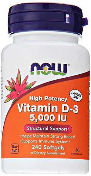 NOW Vitamina D-3 5,000 IU 240 Softgels - NutriVita