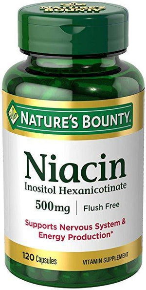 Nature's Bounty Niacin Flush Free 500 mg, 120 Capsules