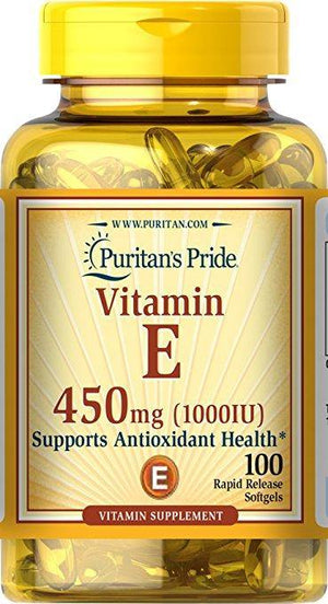 Puritan's Pride Vitamin E (450 mg) 1000 UI, 100 Soft Gels