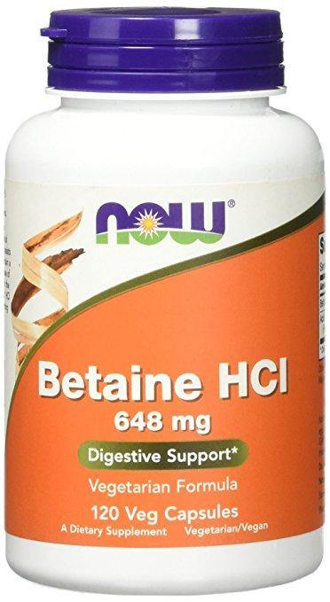 NOW Betaine HCl 648 mg,120 Veggie Caps