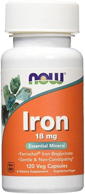 NOW Iron (Ferro) 18 mg,120 Veg Capsulas - NutriVita