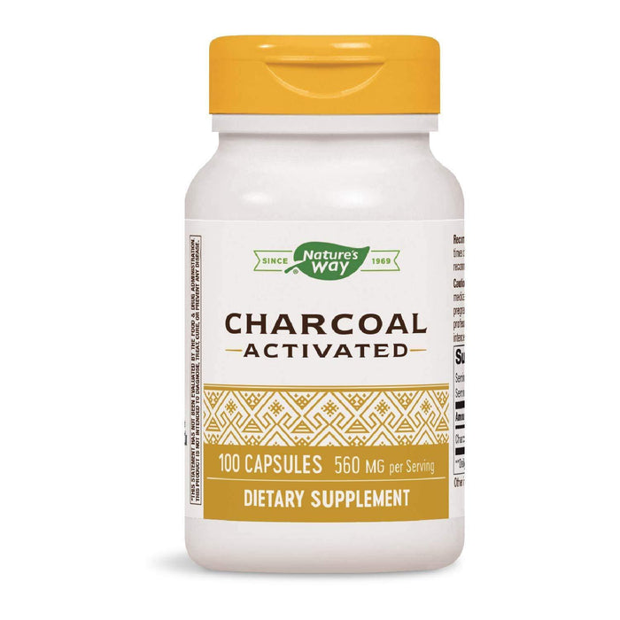 Nature's Way Activated Charcoal 560 mg 100 Capsulas