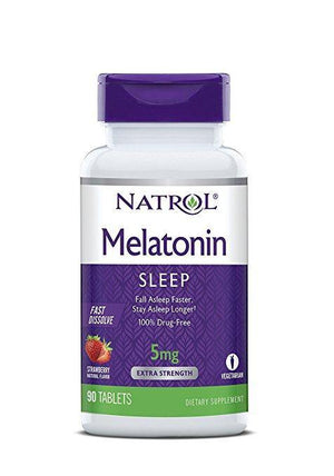 Natrol Melatonina Rápida Dissolução 5mg, 90 Tablets Sabor Strawberry - NutriVita