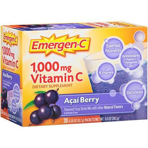 Emergen-C Supplement Drink Mix with 1000 mg Vitamin C 30 Pacotes - NutriVita