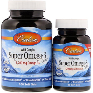 Carlson Labs - Wild Caught Super Omega-3 Gems 1,200 mg, 130 Soft Gels - NutriVita