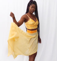 Yellow Orange Hand Painted Bralette & Maxi Sarong Set