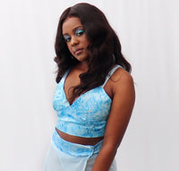 Blue Hand Painted Bralette & Maxi Sarong Set