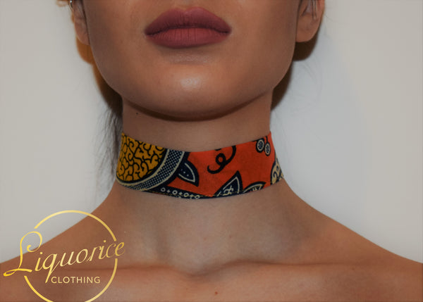 Orange x Yellow Ankara Choker