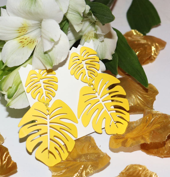 Yellow Palm Leaf Earrings