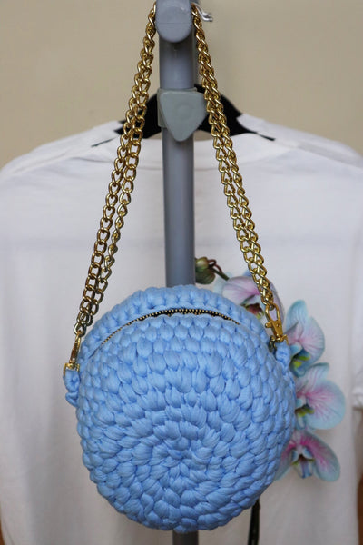 Blue Crochet Circle Purse