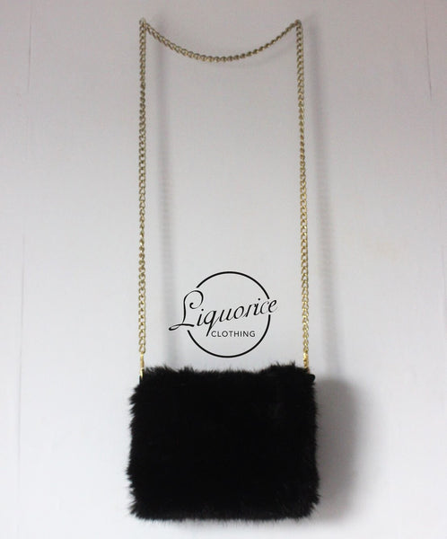 Faux Fur Purse Bag with Gold Chain