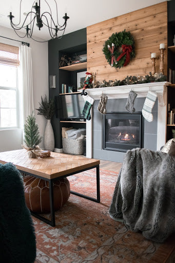 Wreath above fireplace