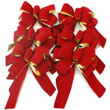 Six gold backed red velveteen bows