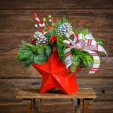 Evergreens with white pine cones,red berries,faux candy pick in a red metal star container with white,red & green glitter striped bow