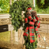 Christmas Candy Cane noble fir incense cedar juniper with apple/berry cluster frosted pine cones and plaid bow