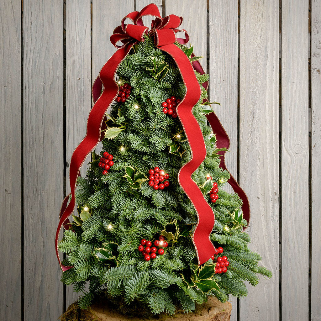 Fresh hand-assembled tabletop Christmas tree with fir, variegated holly, red berries and a red velveteen bow and white LEDs