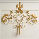 golden baroque styled over the door wreath hanger on white door