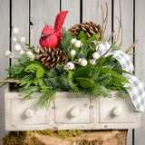 Fresh centerpiece in a whitewashed wooden drawer with white berries a cardinal bird and pine cones close up