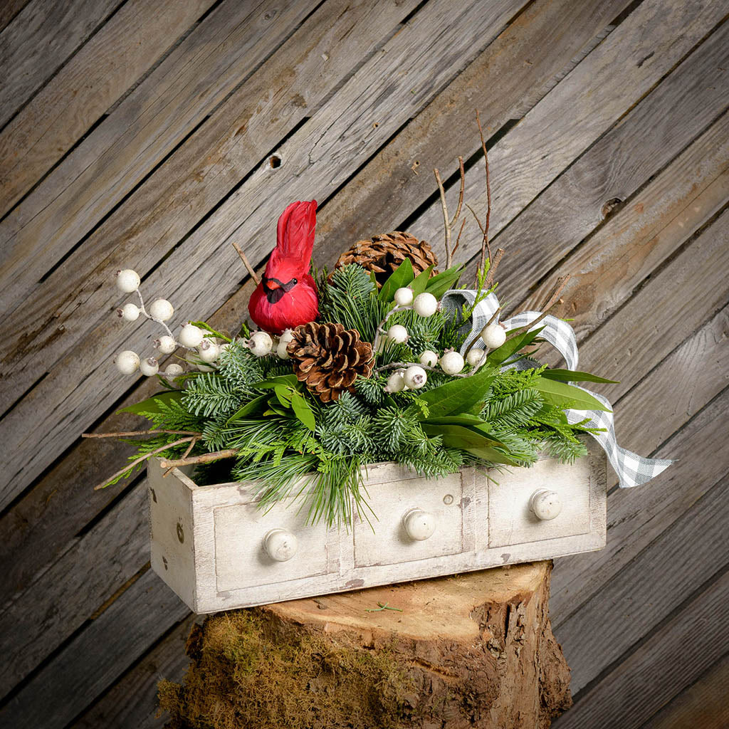 Fresh centerpiece with white berries a cardinal bird and pine cones on a tree stump with a wooden plank background