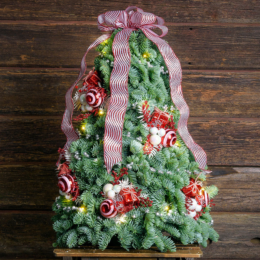Noble fir, 6 clusters of peppermints, gifts, white ornaments and faux white ferns with a white and red glitter-striped bow