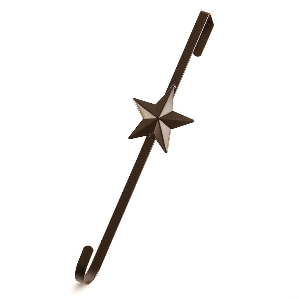Metal antiqued bronze star wreath door hanger