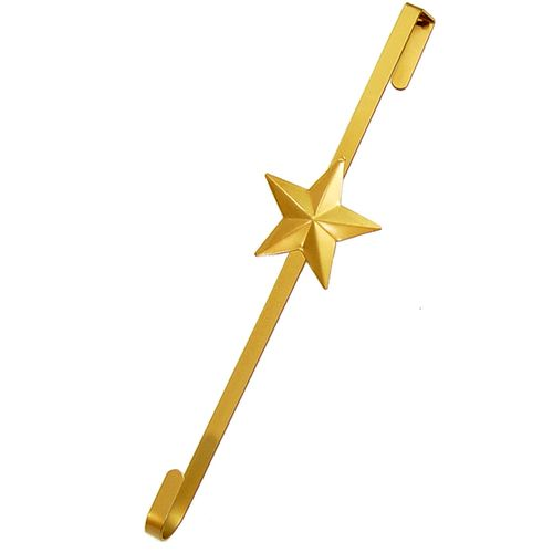 Gold metal over the door wreath hanger with a star on it
