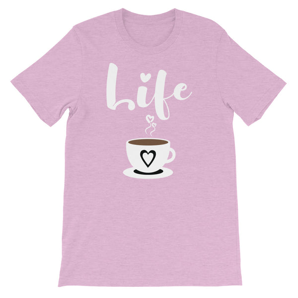 A heather lilac t-shirt with 'Life' written in cursive above a cute coffee cup.