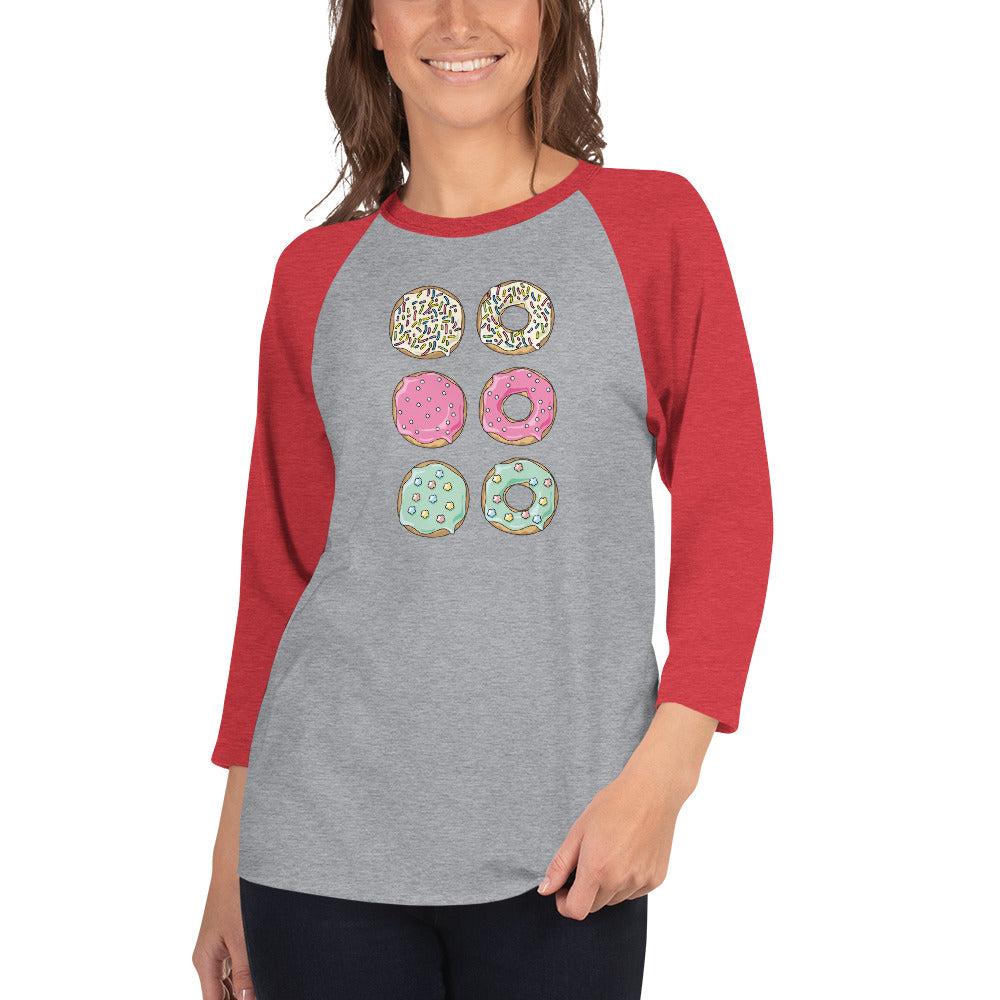A 3/4 sleeve raglan baseball shirt with a donut pattern - red sleeves, grey body.
