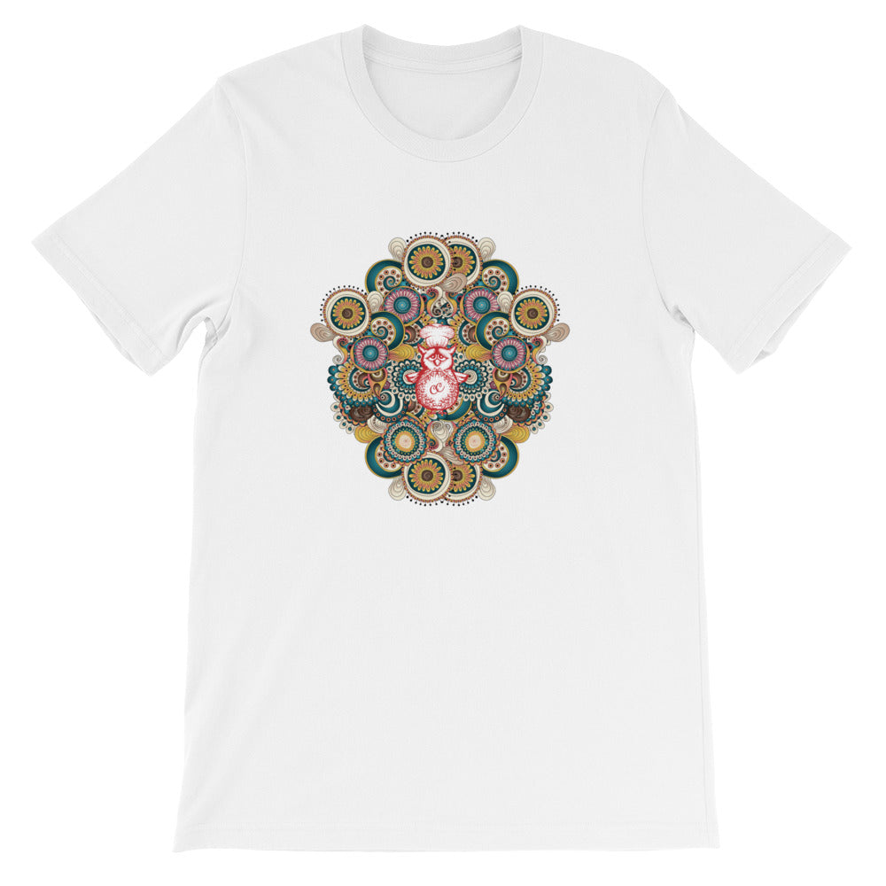 A stunning mandala pattern on a white t-shirt.