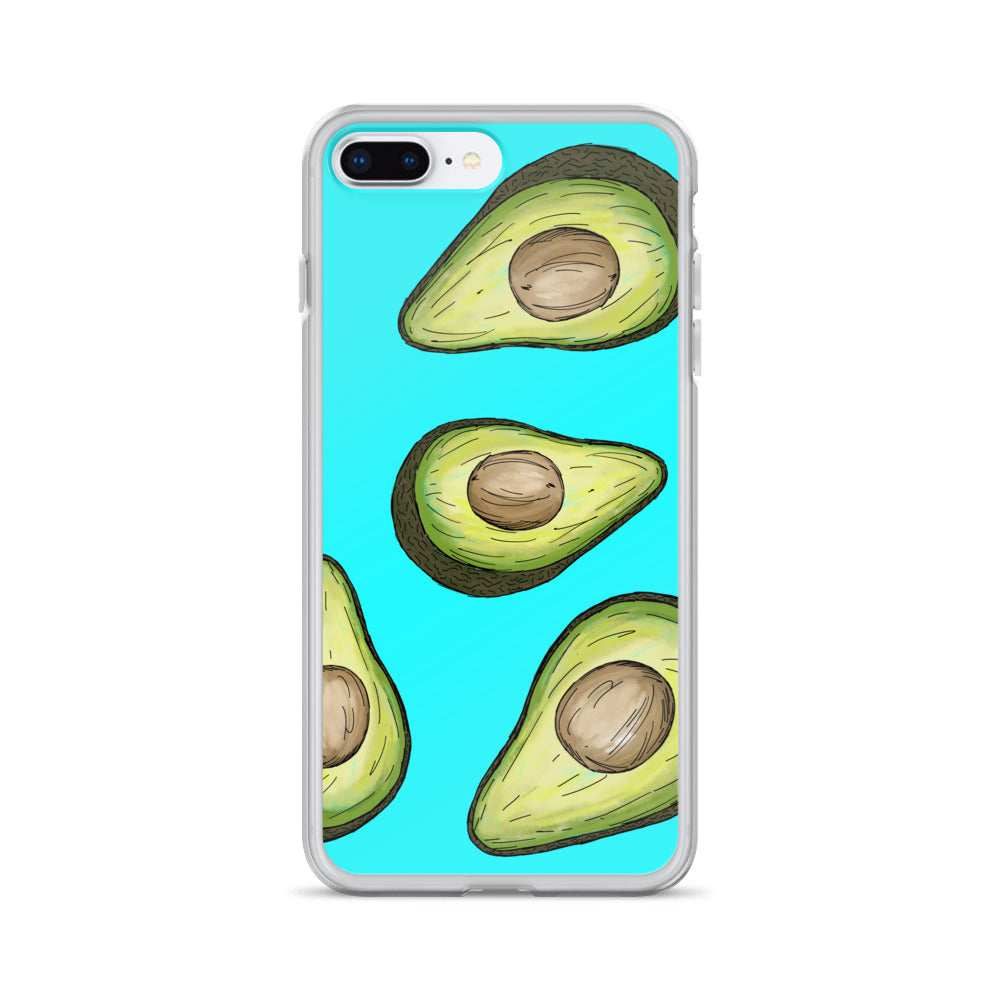 A blue iPhone case with green avocados illustrated on.