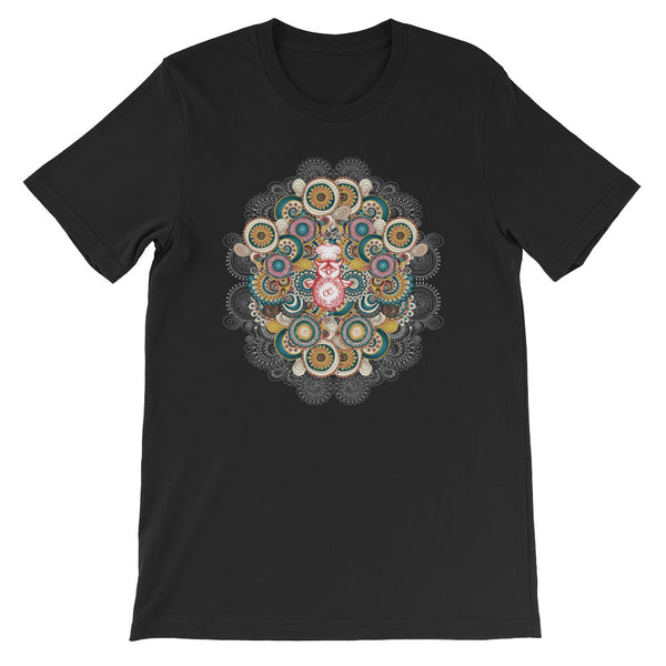 A stunning mandala pattern on a black t-shirt.