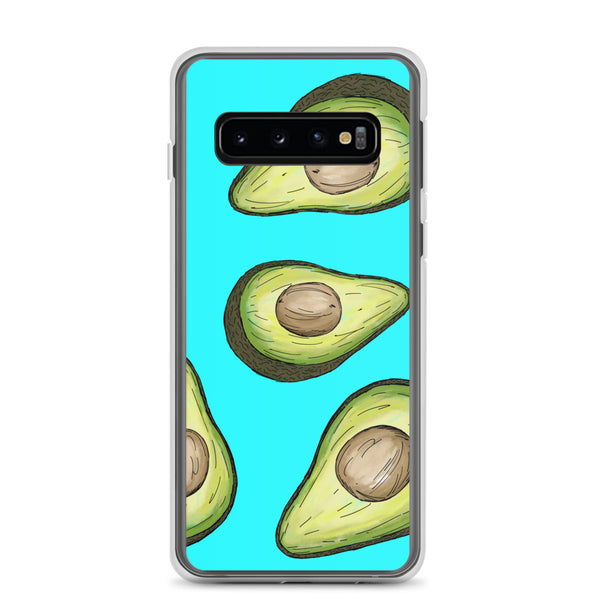 A blue Samsung phone case with green avocados illustrated on.