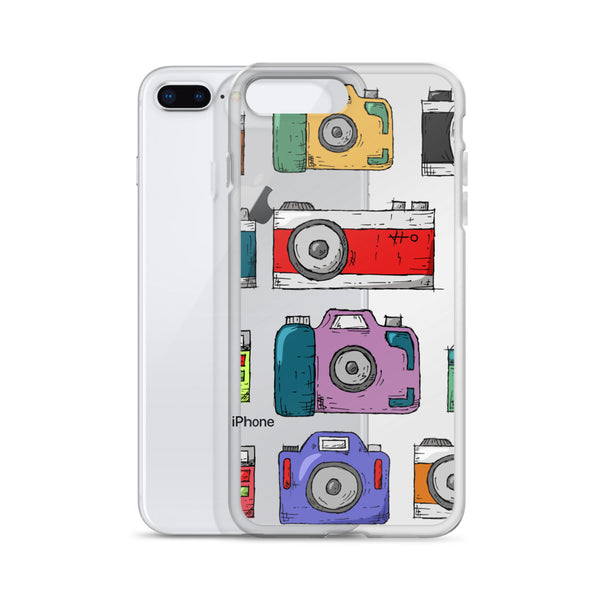 A clear phone case with beautiful illustrations of cameras in front of an iPhone.