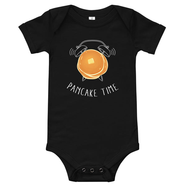 A cute black baby jersey that says Pancake Time with a pancake alarm clock graphic.