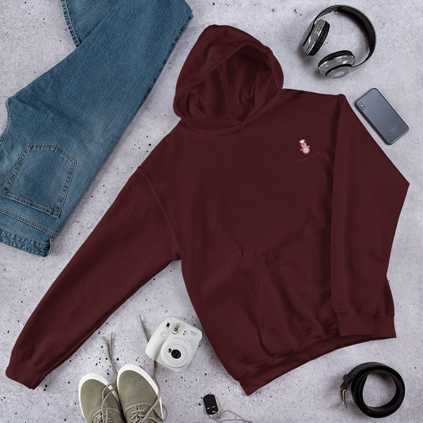 A flatlay showing off the red hoodie with Chocolates & Chai logo.