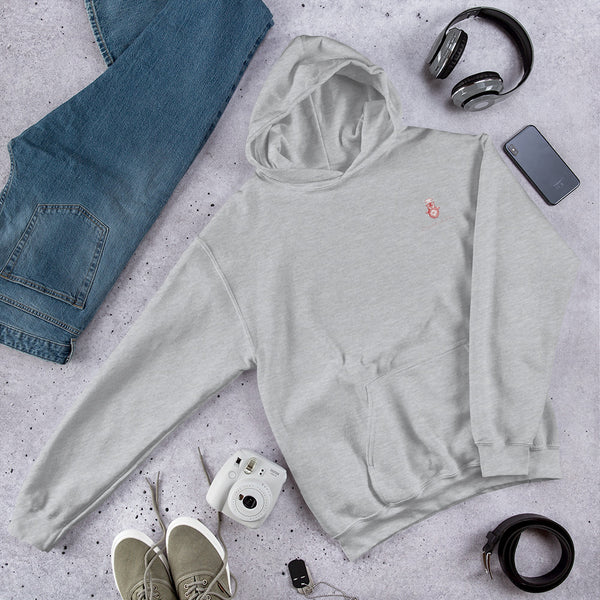 A flatlay showing off the grey hoodie with Chocolates & Chai logo.