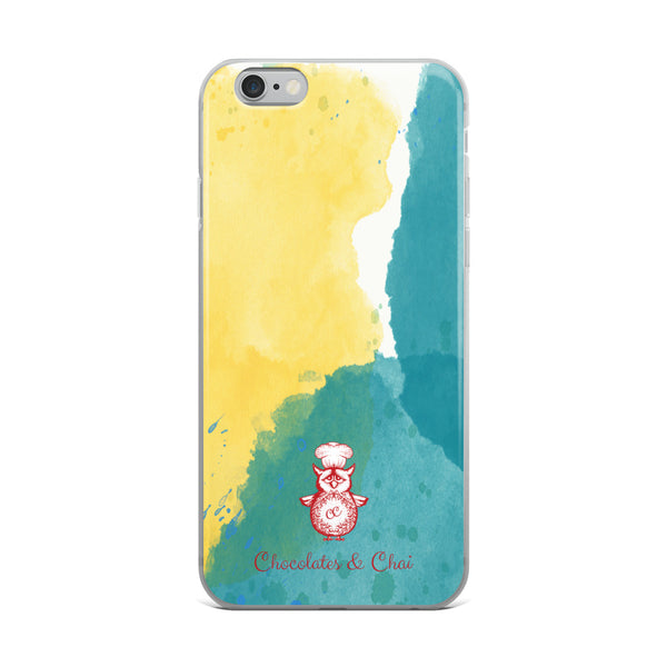 A sleek iPhone case with a yellow and green watercolour pattern and the red Chocolates & Chai owl logo.