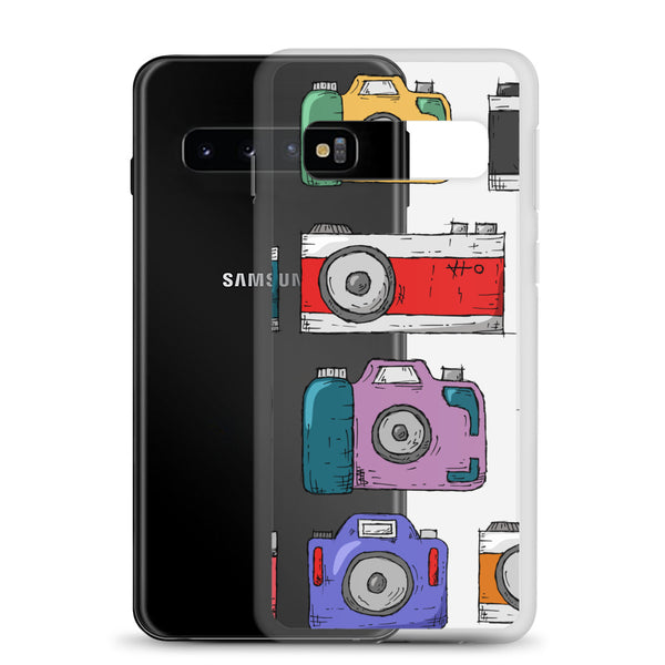 A clear phone case with beautiful illustrations of cameras in front of a Samsung phone.