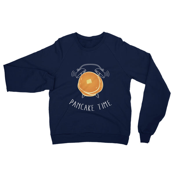 A comfy blue sweatshirt with a pancake graphic on the chest.