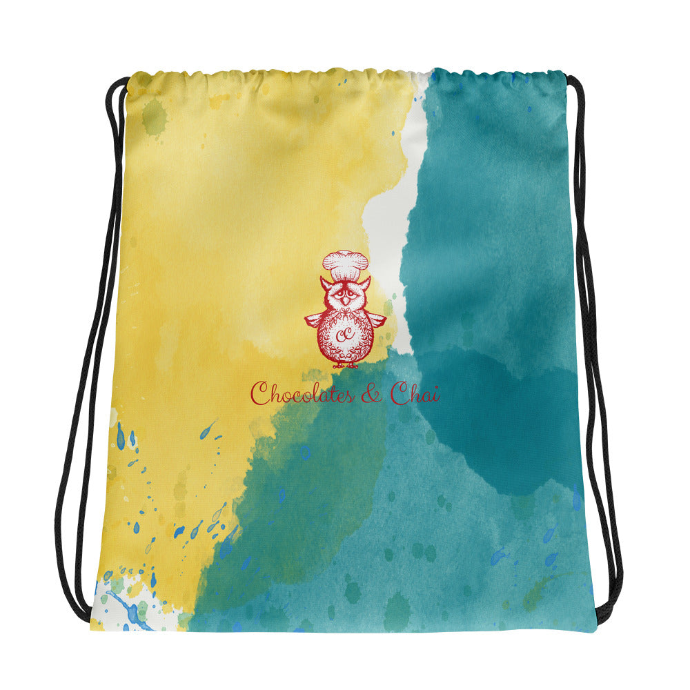 A great looking drawstring bag with a yellow and green watercolour splash design, and the C&C logo in the centre.