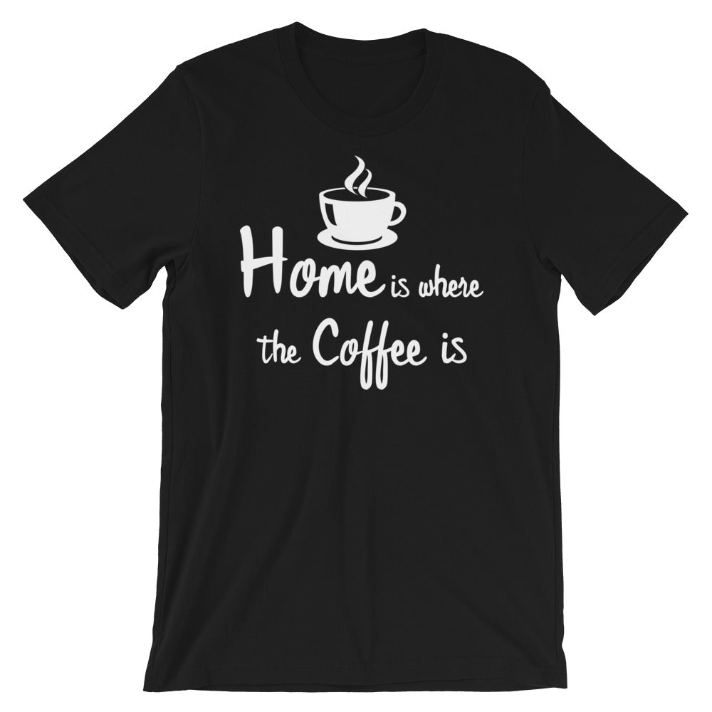 "A black t-shirt with an illustrated coffee cup, and the words, ""Home is where the Coffee is"""