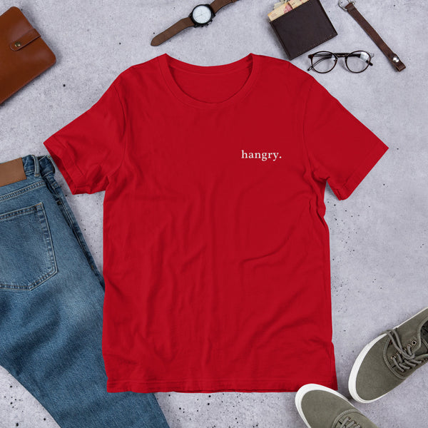"A red tshirt with ""hangry."" embroidered on the left chest."