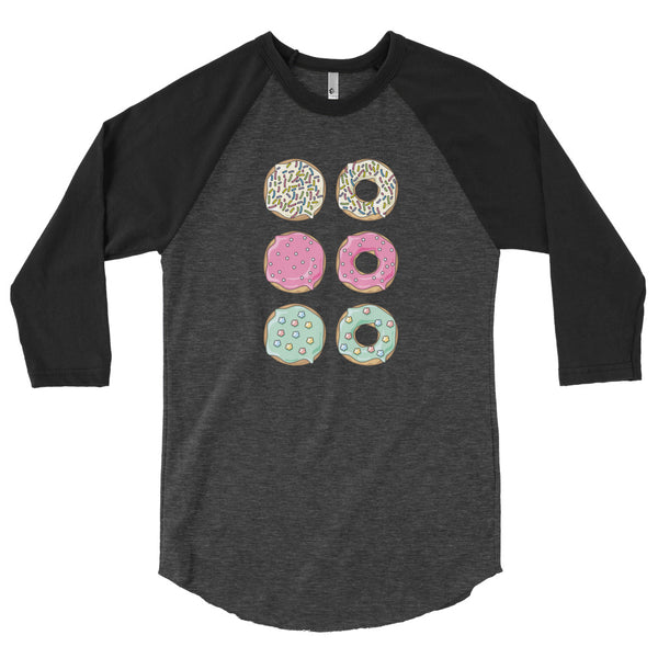 A 3/4 sleeve raglan baseball shirt with a donut pattern.