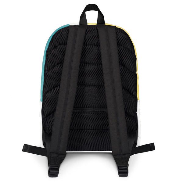 A black backside to a backpack.